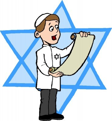 Jewish Boy With Torah Line Art 370X400